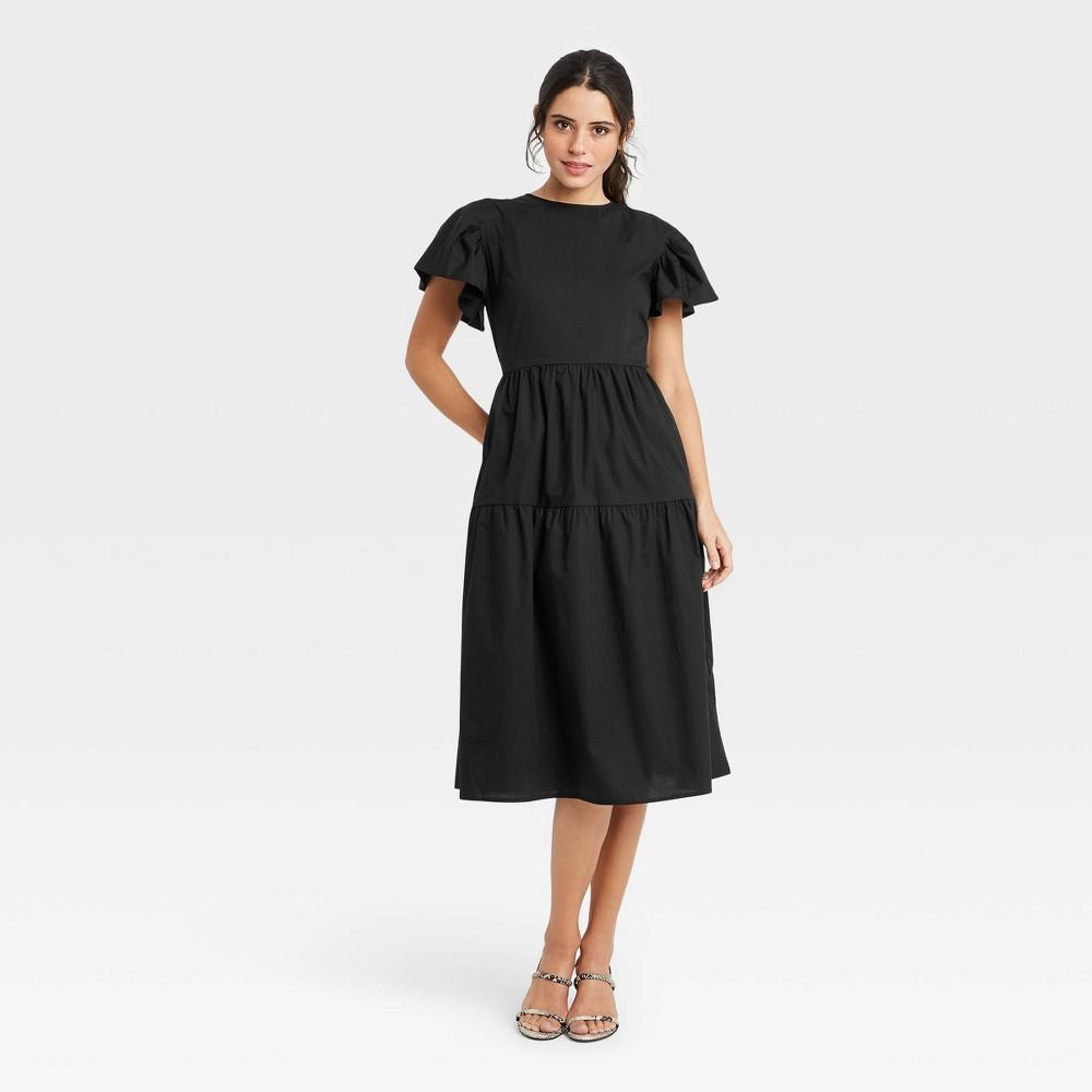 Women 39 S Flutter Short Sleeve A Line Dress Who What Wear 8482 Black S