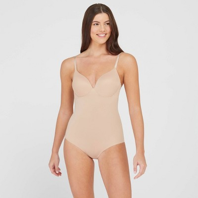 ASSETS BY SPANX Women's Flawless Finish Shaping Micro Low Back Cupped Bodysuit Shapewear