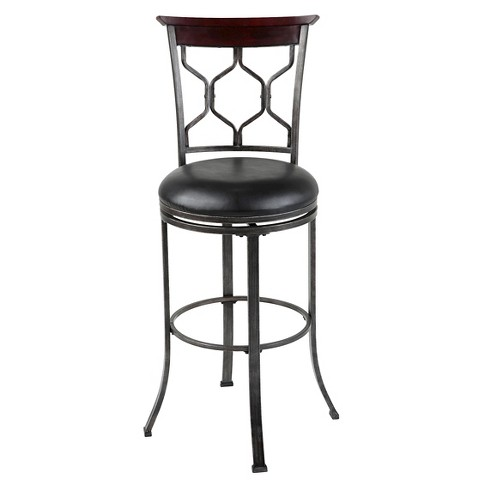 "Tallahassee 30"" Barstool Heritage Silver Metal/Dark Cherry Wood - Fashion Bed Group - image 1 of 9"