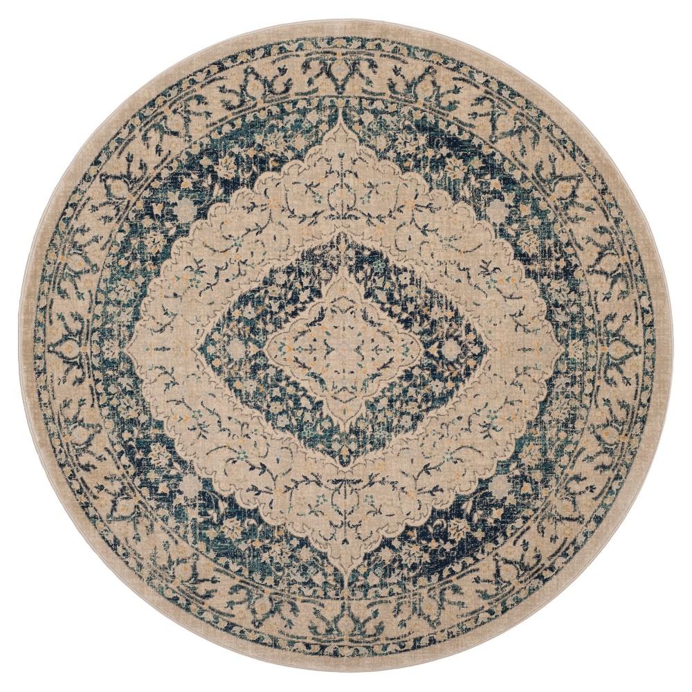 Beige/Navy (Beige/Blue) Floral Loomed Round Area Rug 6'7 - Safavieh