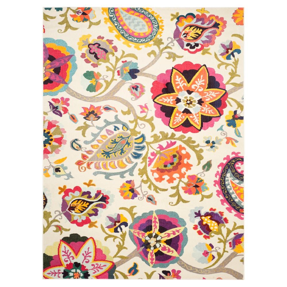 9' x 12' Jasmine Rug - Safavieh, Ivory/Multi-Colored/Pink