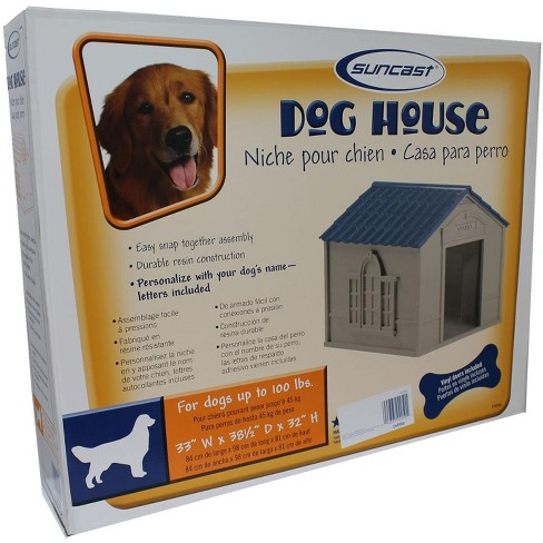 Suncast Outdoor Deluxe Weatherproof Dog House With Door Small To Large Dog,  Gray