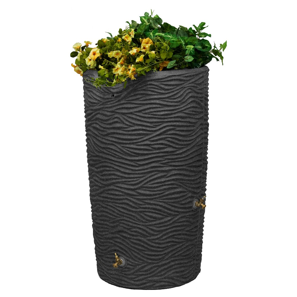 Image of Impressions Palm 65 Gallon Rain Saver - Dark Granite - Good Ideas, Gray
