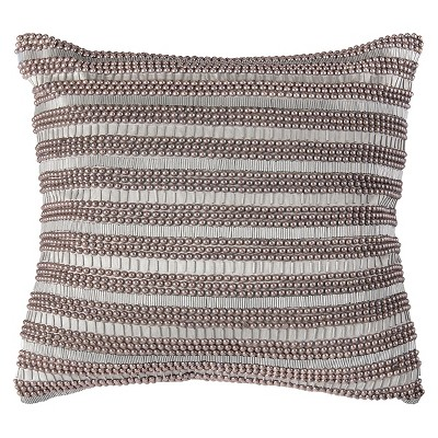 Silver Hand Applique Beads Throw Pillow 20 x20  - Rizzy Home®