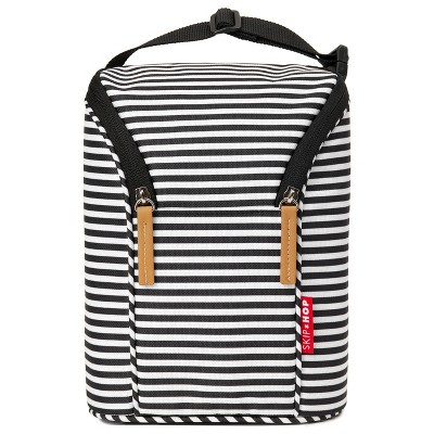 Skip Hop Insulated Breast Milk Cooler and Baby Bottle Bag - Black & White Stripe