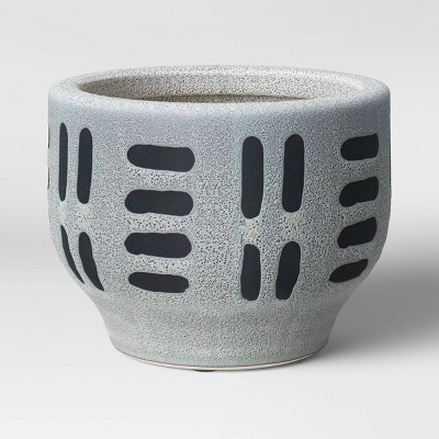 "8"" Earthenware Ceramic Planter Striped Gray - Project 62™"