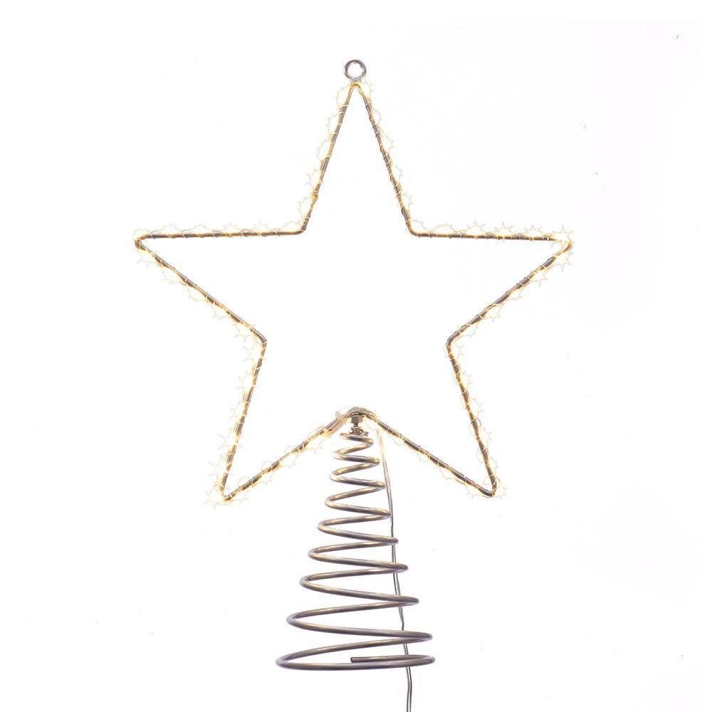 """Image of """"13"""""""" Kurt Adler Metal Lighted LED Star Tree Topper, Gold"""""""