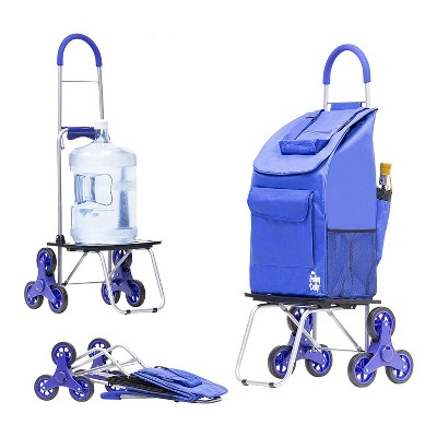 dbest products Stair Climber Bigger Foldable Collapsible Grocery Shopping Cart Utility Wagon Trolley Dolly with 6 Wheels, Blue