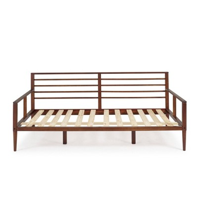 Twin Mid-Century Modern Solid Wood Spindle Daybed Walnut - Saracina Home
