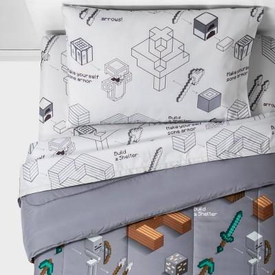 Twin Minecraft Survive Bedding Set Gray