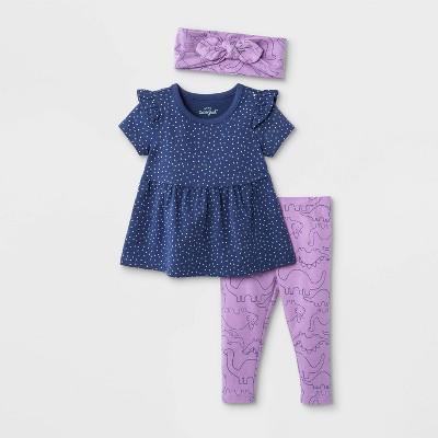 Baby Girls' 3pc Knit Top & Bottom Set with Headband - Cat & Jack™ Violet 0-3M