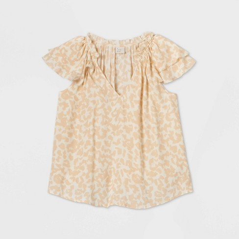 Women's Flutter Short Sleeve Blouse - A New Day™ - image 1 of 4
