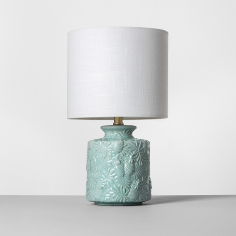Ceramic Pineapple Print Table Lamp Light Blue Includes Energy Efficient Light Bulb - Opalhouse™ - image 1 of 3