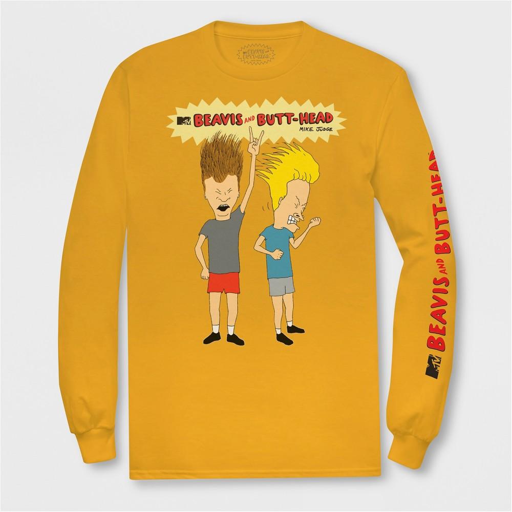 Men's Long Sleeve Mtv Beavis & Butthead Crew T-Shirt - Gold M
