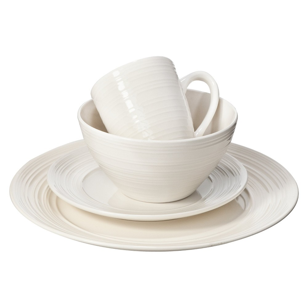 Image of C.C.A. International Ripple 16pc Dinnerware Set, White