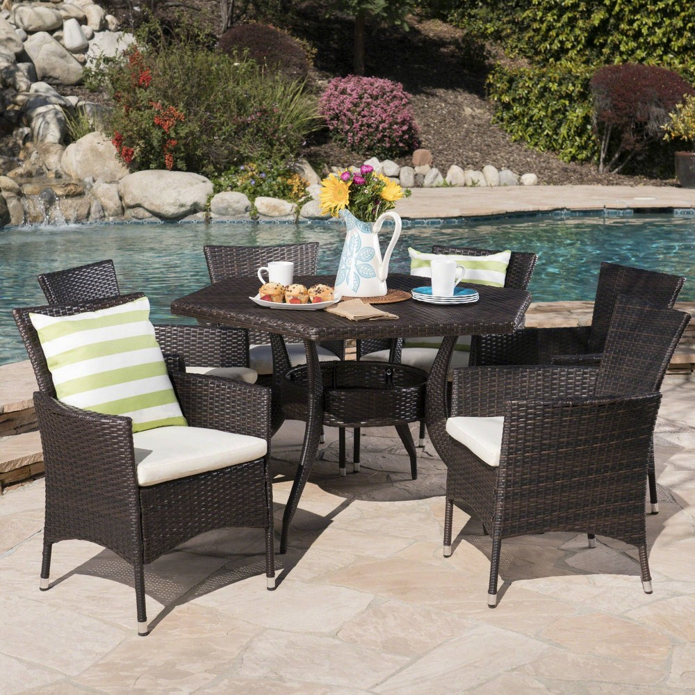 Chapman 7pc Wicker Dining Set - Brown - Christopher Knight Home