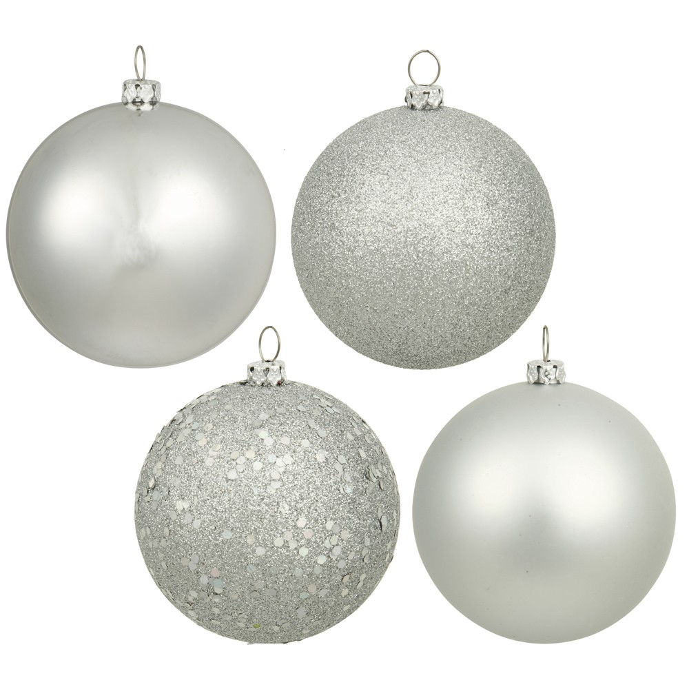 Vickerman 3 Silver 4-Finish Ball Christmas Ornament, 16 per Box
