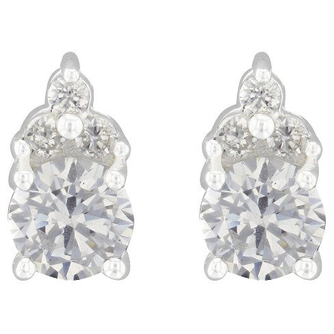 Button Earrings Sterling Cubic Zirconia - Silver/Clear - image 1 of 1
