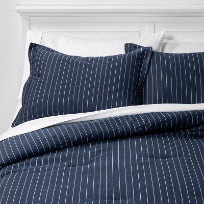 King Family Friendly Stripe Comforter & Pillow Sham Set Navy - Threshold™