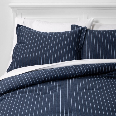 Family Friendly Stripe Comforter & Pillow Sham Set Navy - Threshold™ - image 1 of 4