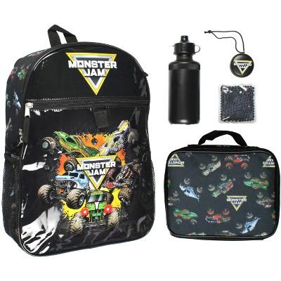 Monster Jam Monster Trucks Backpack Lunch Bag Water Bottle 5 PC Mega Set