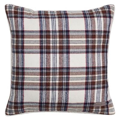 Navy Edgewood Plaid Flannel Sherpa Throw Pillow (20 x20 )- Eddie Bauer®