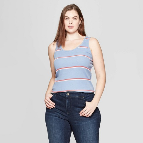 0a7f4f3820a24 Women s Plus Size Striped Sleeveless Scoop Neck Rib Racerback Tank Top -  Universal Thread™ Red White