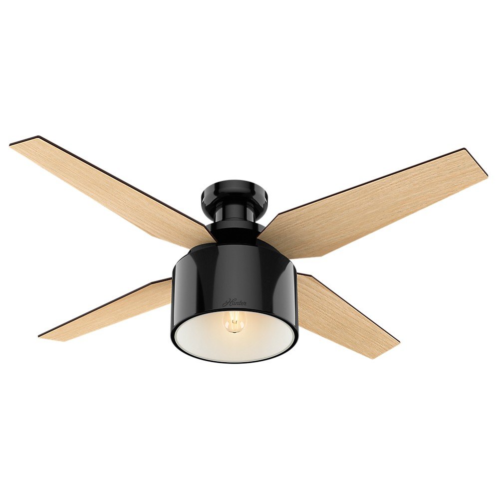 """Image of """"52"""""""" Cranbrook Low Profile Gloss Black Ceiling Fan with Light with Handheld Remote - Hunter Fan"""""""