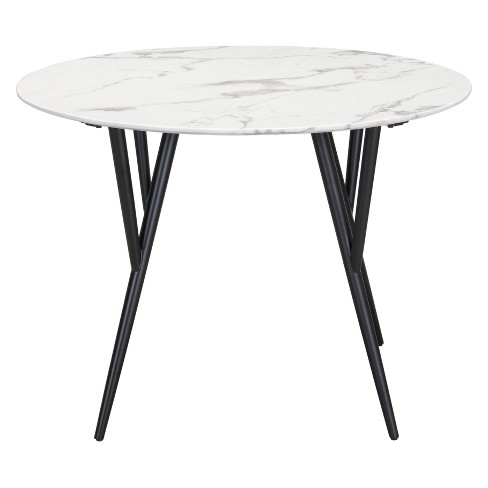 42 Modern Faux Marble Round Dining Table Stone Matte Black Zm Home Target