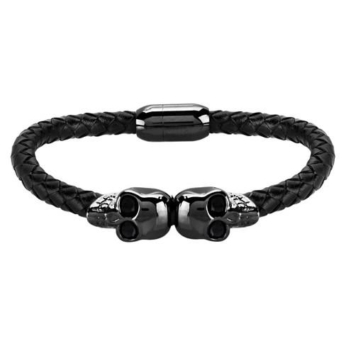 "Men's Crucible Double Skull Leather Bracelet - Black (8.5"") - image 1 of 3"