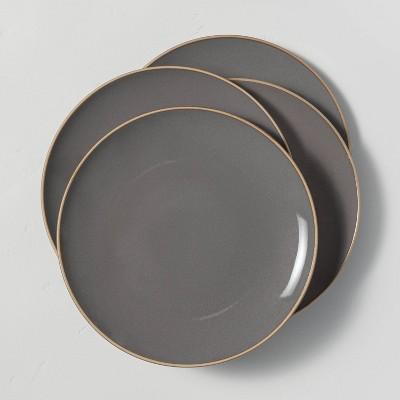 4pk Stoneware Exposed Rim Dinner Plate Set Gray - Hearth & Hand™ with Magnolia