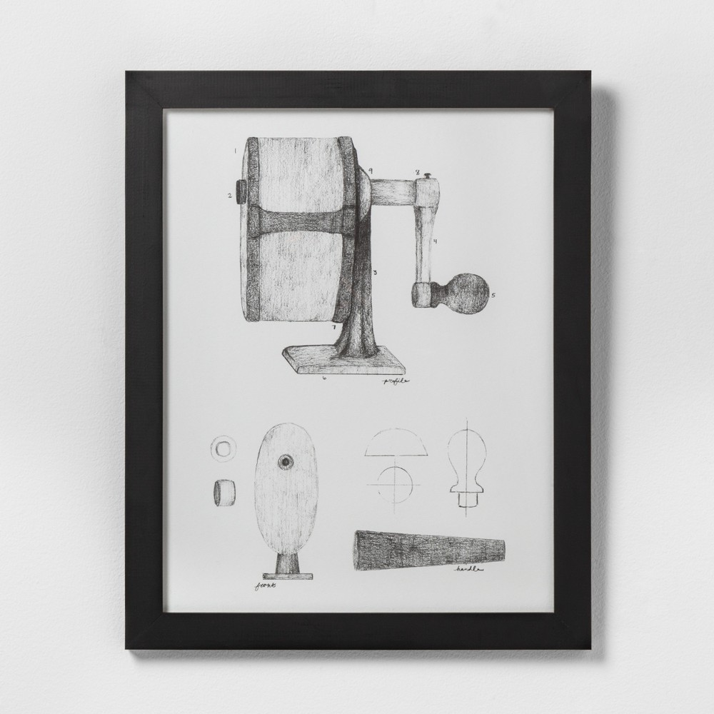 "Image of ""16"""" X 20"""" Pencil Sharpener Wall Art with Black Wood Frame - Hearth & Hand with Magnolia"""