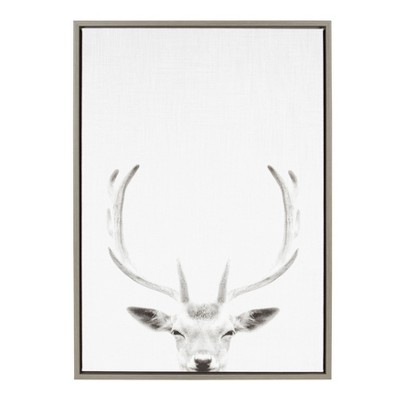 """23"""" x 33"""" Sylvie Deer Portrait Framed Canvas by Simon Te Tai Gray - Kate and Laurel"""
