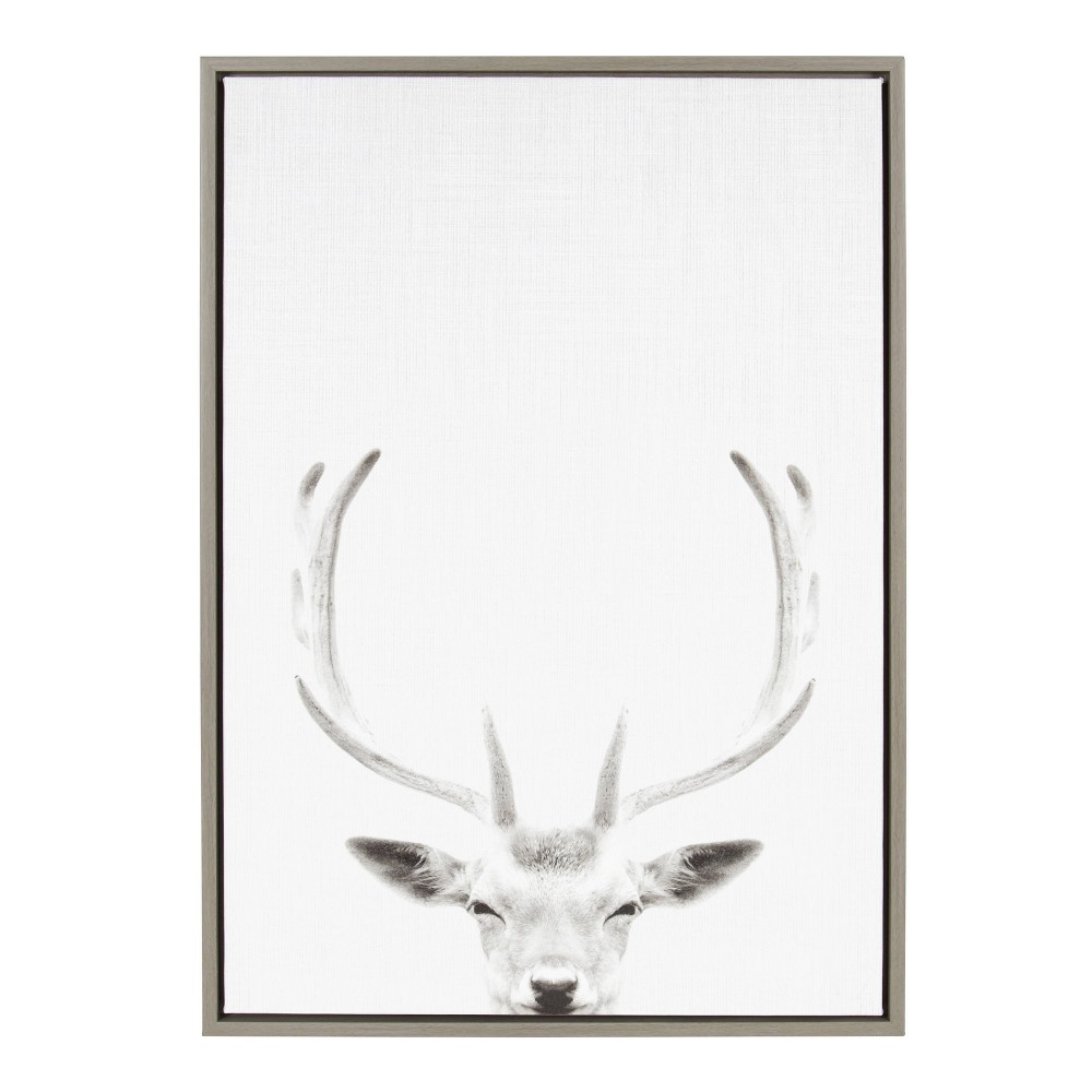 "Image of ""23""""x33"""" Slyvie Deer Portrait Framed Canvas By Simon Te Tai Gray - Kate and Laurel"""