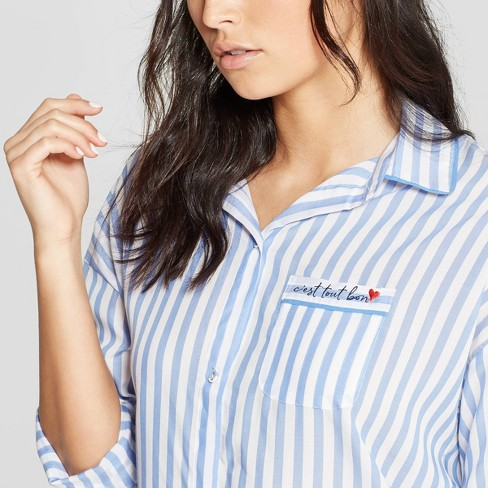 Women s Striped Simply Cool Button-Up Sleep Shirt - Stars Above™ Blue    Target ee66a1750