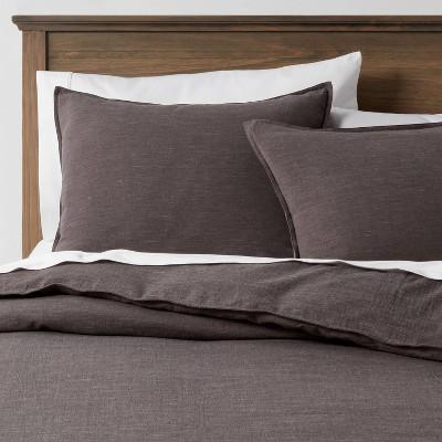 3pc King Space Dyed Cotton Linen Duvet & Sham Set Dark Gray - Threshold™