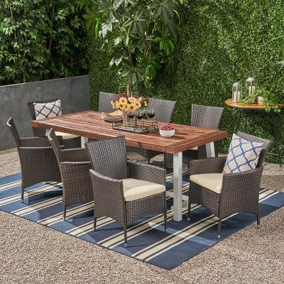 Flamingo 9pc Wood and Wicker Dining Set Dark Brown/Multibrown/Beige - Christopher Knight Home