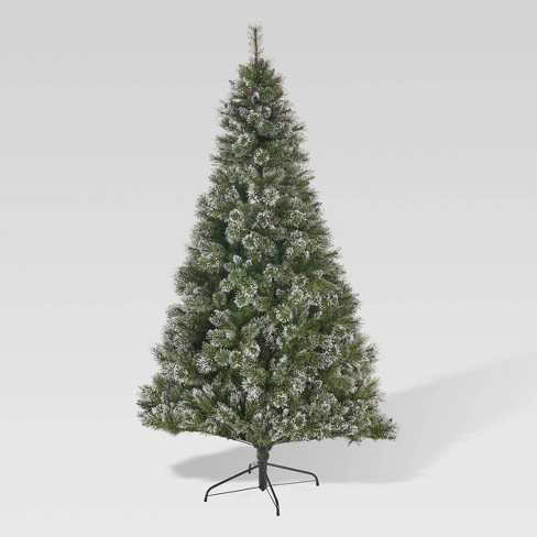 finest selection ad000 65213 7ft Cashmere Pine & Mixed Hinged Flocked Full Artificial Christmas Tree  with Snow & Glitter Branches - Christopher Knight Home