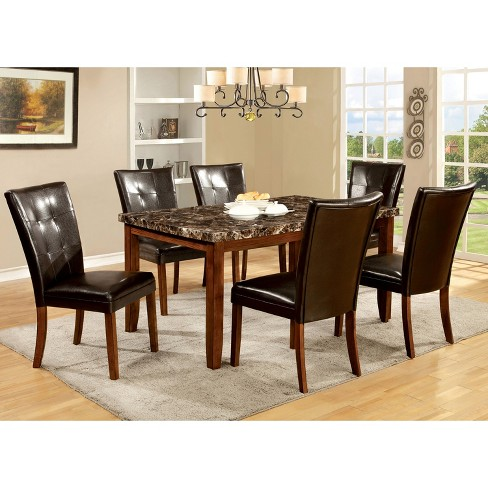 Iohomes 7pc Faux Marble Dining Table Set Woodantique Oak Target
