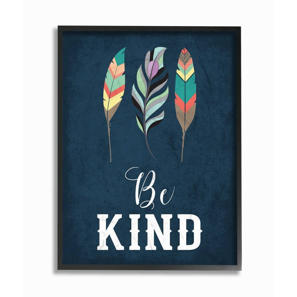 "Image of ""11""""x1.5""""x14"""" Be Kind Blue Feathers Framed Giclee Texturized Art - Stupell Industries"""