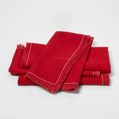 4pc Linen Blend Napkin Red - Threshold™