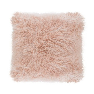 "18"" Poly Filled Faux Mongolian Fur Pillow Rose - Saro Lifestyle"