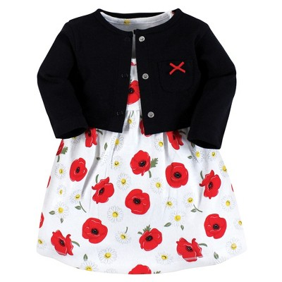 Hudson Baby Baby and Toddler Girl Cotton Dress and Cardigan Set, Poppy Daisy