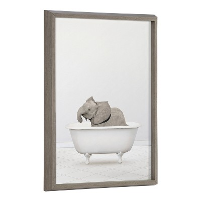 "18"" x 24"" Blake Baby Elephant Solo Bathtub by Amy Peterson Framed Printed Art Gray - Kate & Laurel All Things Decor"