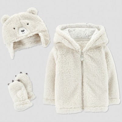 Baby's Fleece Bear Jacket Set - Just One You® made by carter's Grain XS (0-3M)