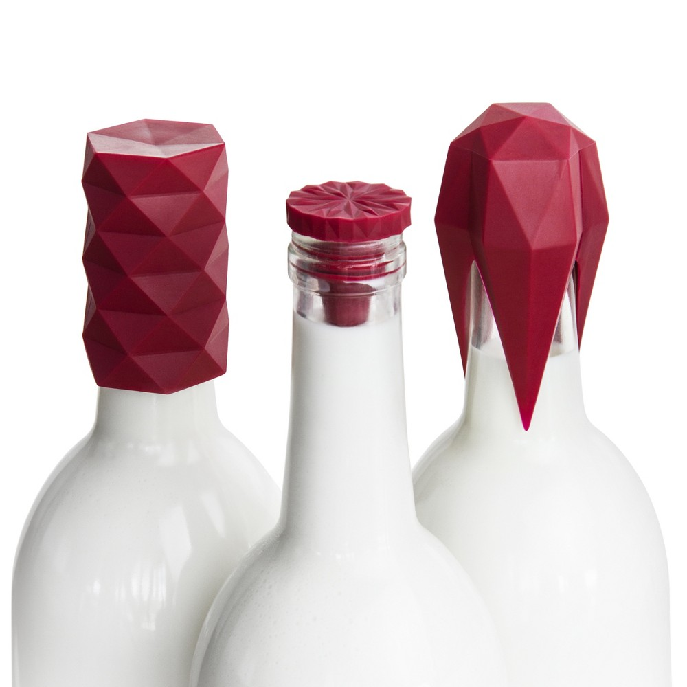 Get It Right Wine Bottle Stopper 3pc Set Burgundy (Red)