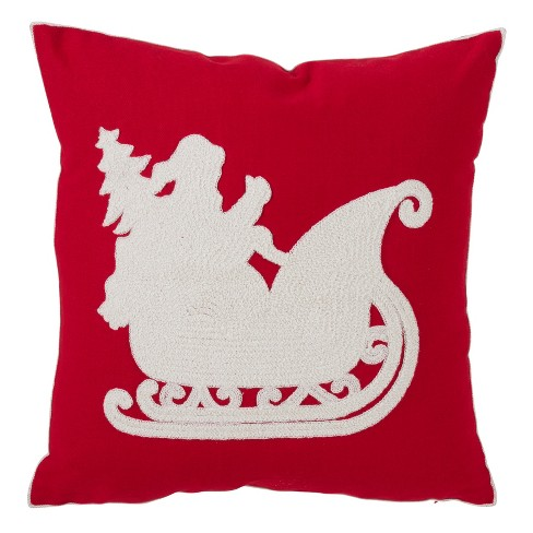 Santa And Christmas Tree Square Throw Pillow Red - Saro Lifestyle - image 1 of 2