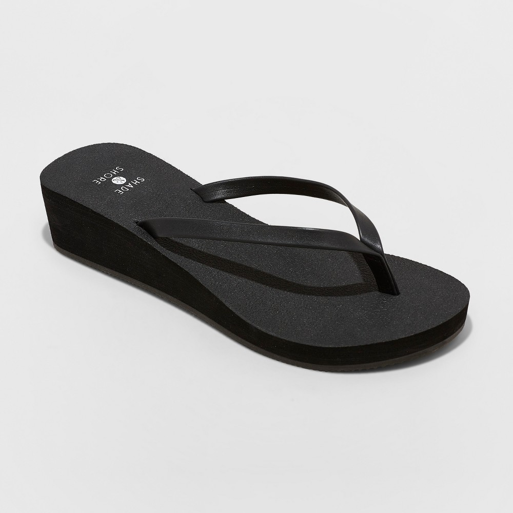 Women's Jessica Glitter Yoga Bottom Thong Sandals - Shade & Shore Black 7