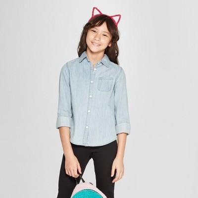 Girls' Long Sleeve Woven Button-Down Shirt - Cat & Jack™