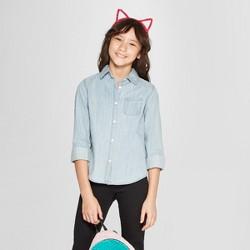 Girls' Long Sleeve Denim Button-Down Shirt - Cat & Jack™ Light Wash
